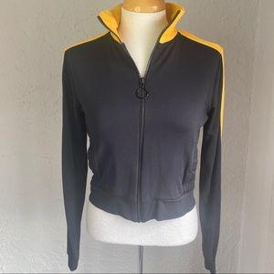 Forever 21 Black and Gold Cotton Zip Jacket